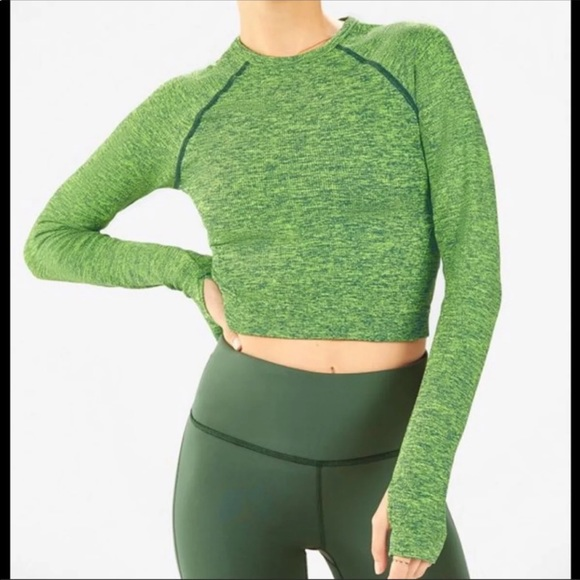 Fabletics Tops - Fabletics Bri Seamless Ribbed Long Sleeve Crop Top